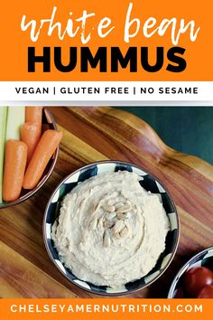 Looking for a sesame free hummus recipe?  Try this delicious white bean hummus!  You'll use sunflower seed butter rather than tahini in this no sesame hummus recipe. White Bean Hummus, White Bean Dip, White Beans, Tahini Free Hummus Recipe, Healthy Appetizers Dips, Whole Food Recipes, Keto Recipes, Food On Sticks, Vegan Sauces
