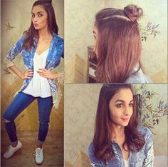 10 Surprisingly Easy And Chic Hairstyles Of Alia Bhatt You Should Definitely Try Alia Bhatt Hairstyles, Chic Hairstyles, Indian Hairstyles, Latest Hairstyles, Straight Hairstyles, Blonde Balayage Highlights, Crochet Braids, Hair Style Girl Image, Girl Style