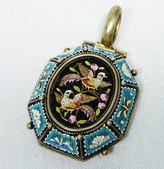 Victorian Era Antique Micro Mosaic Bird & Rose Pendant, Silver Tested, Italy, Grand Tour The design of this pendant is well thought out and