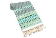 Multi Stripes Fouta Towel, Green on OneKingsLane.com