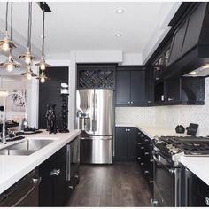 New Kitchen Decor Black Cabinets Sinks Ideas Black Kitchen Cabinets, Kitchen Cabinet Colors, Black Kitchens, Home Kitchens, Kitchen Black, Kitchens With Dark Cabinets, Oak Cabinets, White Cabinets, Home Decor Kitchen