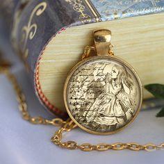 ALICE IN WONDERLAND Necklace Literary by LiteraryArtPrints on Etsy  #literary #jewerly