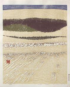 Hashimoto, Okiie Sakyû sôshun (砂丘 早春 - 鳥取砂丘連作の内) - Dune, early spring 1968 Saru Gallery - Japanese prints & paintings