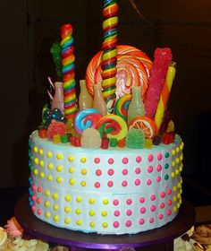 (just a picture) Charlie & the Chocolate Factory Cake Topper | Flickr - Photo Sharing! 8 inch cake covered with candy...
