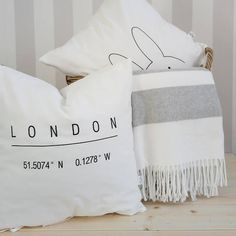 """Items similar to OFF-WHITE """"London"""" embroidered word typography cushion cover, monochrome cushion, black&white pillow, quote cushion, ties closure on Etsy Typography Cushions, Bed Pillows, Pillow Cases, London, Blanket, Trending Outfits, Words, Cover, Etsy"""