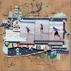 #papercraft #scrapbook #layout.  Carta Bella Ahoy There papers