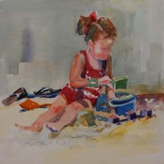 LITTLE GIRL IN THE RED PATTERNED SWIM SUIT, painting by artist Elizabeth Blaylock