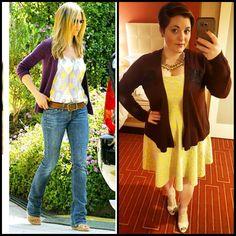 #ChubbyChique 1-18-2016 #ootd #beYOUtiful16 #pinneditspinnedit Yellow, gray and plum inspiration from Jennifer Aniston