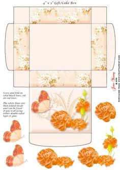"""Gift Cake Box Orange Carnations on Craftsuprint designed by June Young - This gift/cake box is approx. 4"""" x 3"""" when made up and has floral side panels and a decorated lid. It is very simple to assemble and there is decoupage provided for the flower and butterfly decoration on the lid. - Now available for download!"""