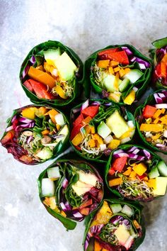 When I was a child, I was always a little difficult when it came time to eat my vegetables. But man, if my veggies looked like these rainbow rolls, I might've been more receptive to the whole idea.