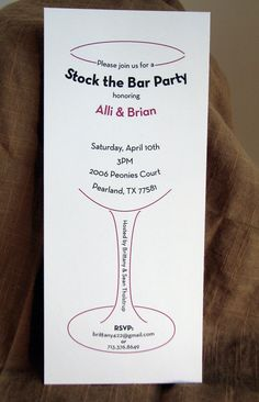 Cute stock the bar party invitation...I never thought of that!