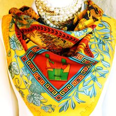 Authentic Hermes Silk Scarf Musique Des Dieux Rare in Mint Condition