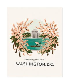 This illustrated art print from Rifle Paper Co. originates from an original Gouache painting by artist Anna Bond. The print captures the spirit of the Cherry Blossom Festival in Washington, D. in her trademark colorful and whimsical style. This piece is Anna Bond, Image Deco, White Wall Art, Paris Art, Rifle Paper Co, Gouache Painting, Framed Art Prints, Wall Prints, Drawings