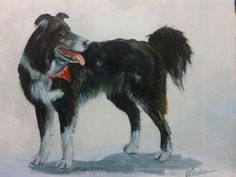 Border collie painting by me