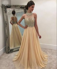 Formal Dress | 2016 Champagne Halter Crystals Beaded Open Back Chiffon Long A-line Luxury Evening Dresses | Online Store Powered by Storenvy