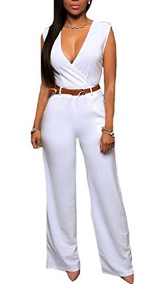 Womens Solid Deep V Neck Irregular Long Belt Jumpsuit Romper ** Learn more by visiting the image link.(It is Amazon affiliate link) #commentteam