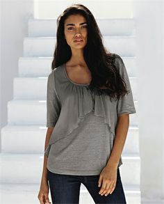 Poetry - Silk Cotton and Jersey Top - A simple linen jersey top with a layer of pretty crinkled silk-cotton. Relaxed styling with elbow-length sleeves and a softly curved hem. 50% Linen 50% Cotton/80% Silk 20% Cotton