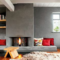 Cement For Fireplace - Screens are a few of the stunning and most useful fireplace add-ons accessible and may often contain Fireplace Feature Wall, Fireplace Built Ins, Home Fireplace, Fireplace Design, Living Room Color Schemes, Living Room Remodel, Room Colors, Home Remodeling, New Homes