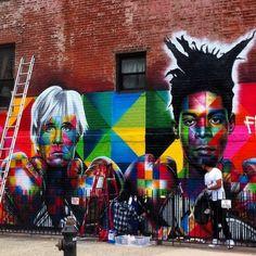 Kobra tribute mural to Warhol and SAMO in progress. @kobrastreetart #kobra #streetart