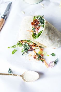 Crispy BBQ Tempeh Caesar Salad Wraps | Flourishing Foodie