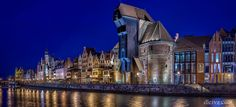Gdansk panorama of the historic city Waterfront of Motlawa river and Dlugie Pobrzeze in Gdansk, Poland Crooked Forest, Crooked House, Popular Photography, Cities In Europe, City Architecture, Places Of Interest, Krakow, Warsaw, City Lights