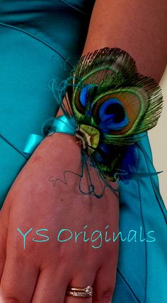Peacock Corsage Ready to Ship by ysoriginals on Etsy, $20.00