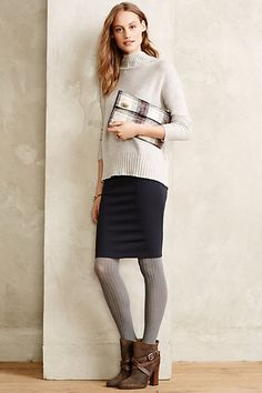 Pencil skirt, sweater and booties-winter look --Ponte Pencil Skirt #anthropologie