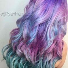 Cute Hair Colors, Hair Color Purple, Hair Dye Colors, Cool Hair Color, Pelo Multicolor, Unicorn Hair, Dye My Hair, Aesthetic Hair, Mermaid Hair