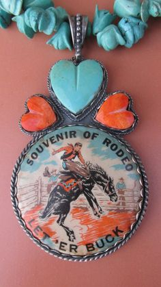 Rodeo Souvenir Tin Lithohgraph Hand-Carved Turquoise and Sterling Silver Artisan Cowgirl Horse Necklace