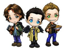 Supernatural Chibis - Sam, Dean, and Castiel OH MY GOD I JUST FANGIRL SCREAMED ITS SO ADORABLE