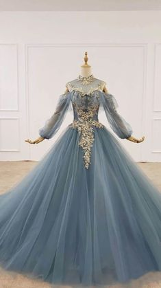 Prom Dresses Long With Sleeves, Ball Dresses, Evening Dresses, Bridal Dresses, 1800s Dresses, Formal Dresses, Ball Gowns Fantasy, Fantasy Dress, Old Fashion Dresses