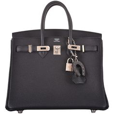 Preowned Hermes Birkin Bag 25cm Black Palladium Hardware Janefinds (€21.890) ❤ liked on Polyvore featuring bags, handbags, black, hermes, leather handbags, preowned handbags, mini purse, 100 leather handbags and horse purse