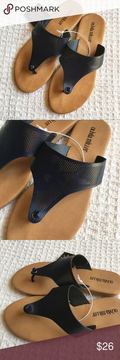 Just In! Navy Laser Cut Sandals Brand: Olivia Miller  Condition: Brand new with tags  Size: Available in sizes shown  Material: Faux leather Olivia Miller Shoes Sandals