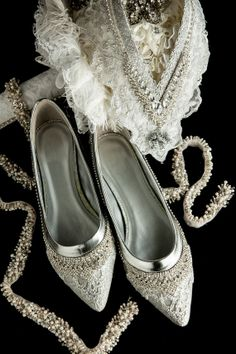 WeDDING LACe FLATS - MADERIA Collection - White Embroidered Nylon Vintage Lace - US Size 7 - 7 1/2B