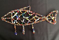 Wall Hook Metal Wire Fish Sculpture Beaded with African Trade Style Glass Beads…