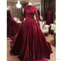 a0d1f528952 Burgundy Muslim Prom Dresses with Long Sleeves 2019 Modest High Neck Lace  Appliques Dubai Arabic Party Formal Gowns Occasion Evening Gown