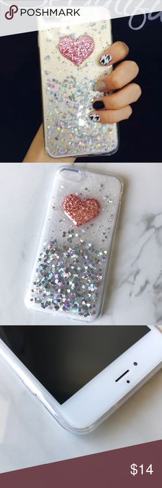 NEW iPhone 7/8/7+/8+  Soft Glitter 3D Heart Case ▪️ Translucent Case With Glitter Hearts (not liquid)  ▪️Choose 7/8 or  7 Plus/8 Plus Below   ▪️High Quality Soft TPU, Front Bumper and Button Covers   ▪️Same or Next Business Day Shipping ! Accessories Phone Cases