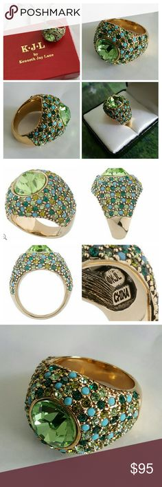 """KJL Domed Devonshire Ring SOLDOUT Gorgeous in person (High-end look & feel). A large, faceted, light green crystal is bezel set in the center, surrounded by small round crystals in shades of dark green, light green, and turquoise.  From Kenneth Jay Lane QVC - SOLDOUT Goldtone Size 7 (using ring instrument) Measures approximately 3/4""""L x 3/4""""W Box, pouch, romance card,  Manufacturer's Certificate of Authenticity Kenneth Jay Lane Jewelry Rings"""