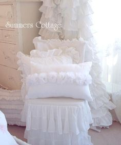 DREAMY WHITE ROSES SHABBY COTTAGE CHIC ACCENT PILLOW