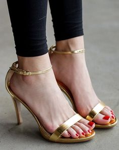Gold open-toed sandals