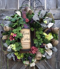 Everyday Wreath, All Season Wreath, Wine Decor, Vineyard, Wine Corks on Etsy, $129.00