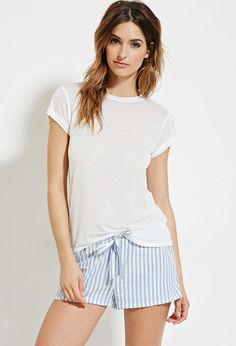Striped Drawstring PJ Shorts