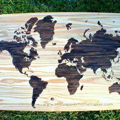 DIY Home Decor Wall Art: DIY Wooden World Map Art