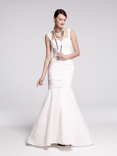 Nouvelle Amsale taffeta mermaid gown, available in Nordstrom Wedding Suites. #wedding #bride #amsale