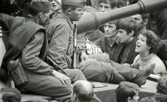 A Czechoslovakia woman shouts Ivan GO Home! to Soviet Army soldiers sitting on tanks in the streets of Prague August 26 1968 842 ] Marie Curie, Steve Jobs, Jean Ferrat, Prague Spring, Mahatma Gandhi, Einstein, World Conflicts, Christian Dating Site, Soviet Army