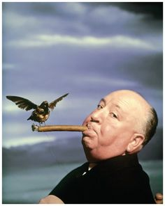 "Alfred HITCHCOCK, during the filming of ""The Birds"". 1962"