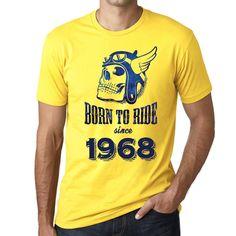 1968, Born to Ride Since 1968 Men's T-shirt Yellow Birthday Gift 00496