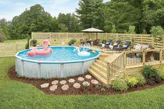 Above Ground Pool Landscaping, Backyard Pool Landscaping, Backyard Pool Designs, Small Backyard Pools, Backyard Ideas, Landscaping Ideas, Patio Ideas, Above Ground Swimming Pools, Swimming Pools Backyard