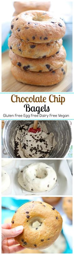Gluten Free Chocolate Chip Bagels Recipe (Gluten Free Egg Free Vegan)- Chewy bagels with bits of chocolate. Food Allergy friendly too. Gluten Free Cooking, Gluten Free Desserts, Dairy Free Recipes, Vegan Desserts, Vegan Gluten Free, Paleo, Teff Recipes, Gluten Free Bagels, Gluten Free Breakfasts