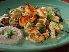Grilled Shrimp Skewers with Mustard-Dill Dressing and Black Olive Yogurt Sauce recipe from Bobby Flay. Didn't make the yogurt sauce and it was still yummy without it. Grilled Shrimp Skewers, Grilled Shrimp Recipes, Grilled Seafood, Grilled Salmon, Grilled Fish, Grilled Meat, Pork Rib Recipes, Sauce Recipes, Shellfish Recipes